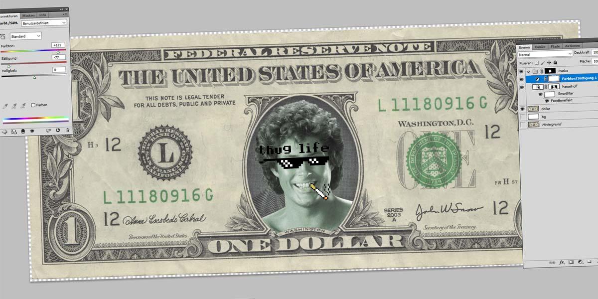 Hasselhoff Dollar - Photoshop Tutorial: Narzędzia, Kadrowanie, Magiczna Różdżka i Maski